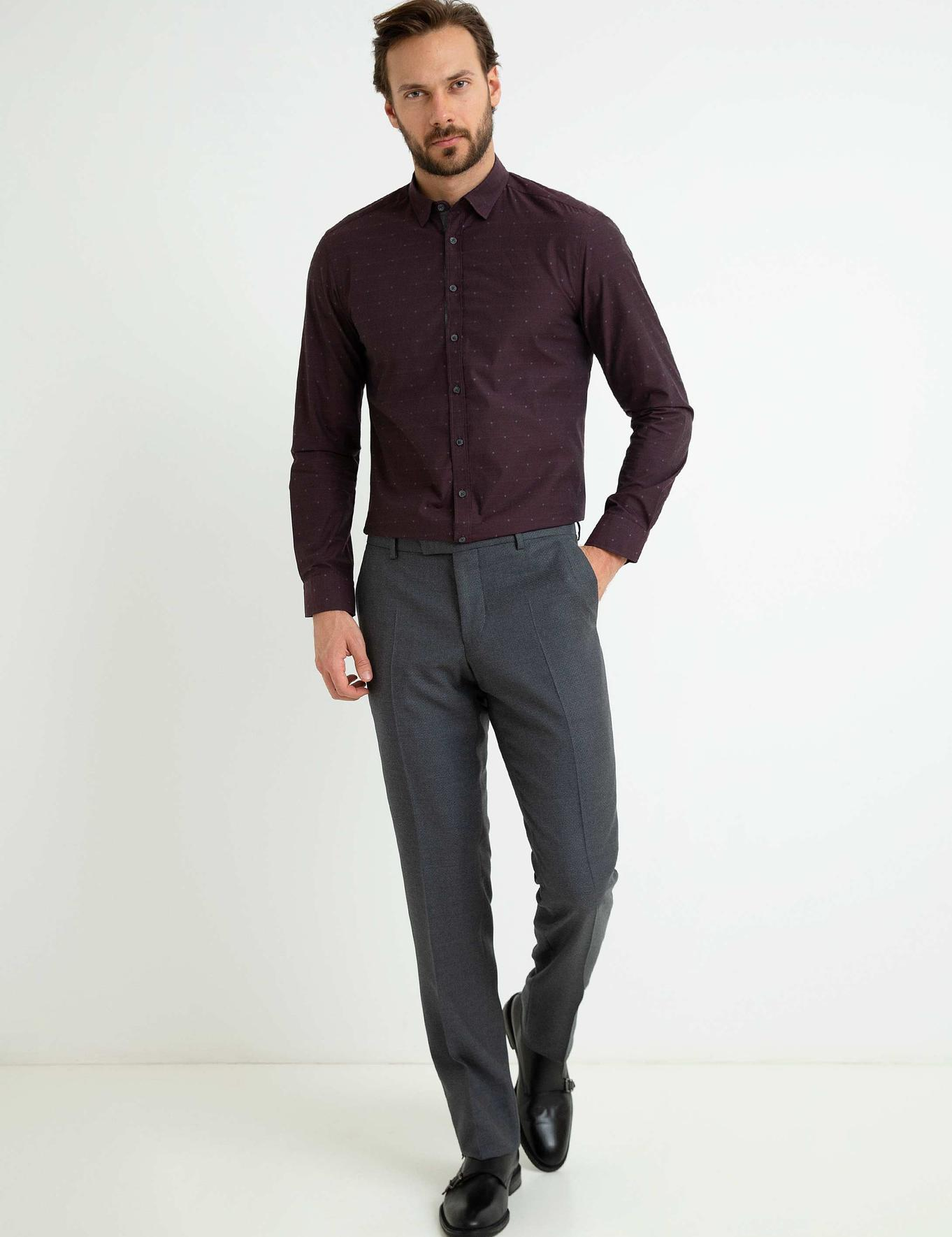 Bordo Slim Fit Gömlek - 50192756004
