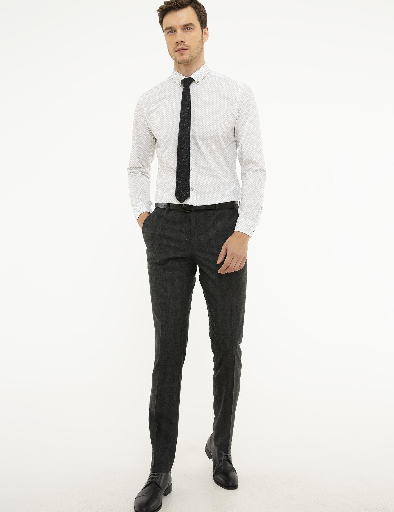 Açık Gri Slim Fit Gömlek - 50218082004