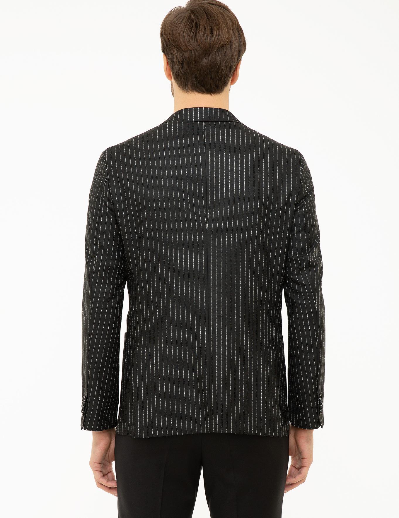 Siyah Slim Fit Ceket - 50223286004