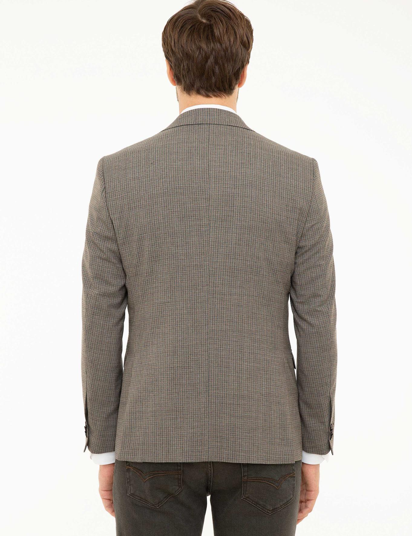 Kahverengi Slim Fit Ceket - 50220989002