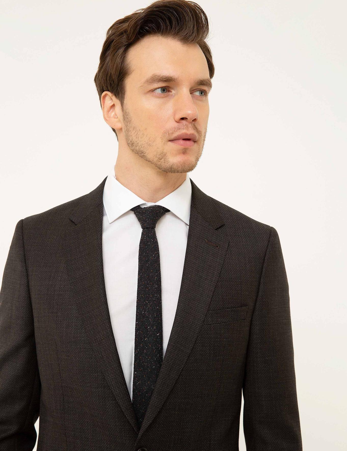 Kahverengi Slim Fit Takım Elbise - 50209215056