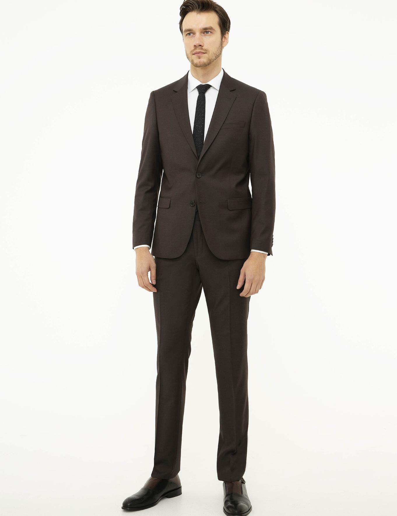 Kahverengi Slim Fit Takım Elbise - 50225203068