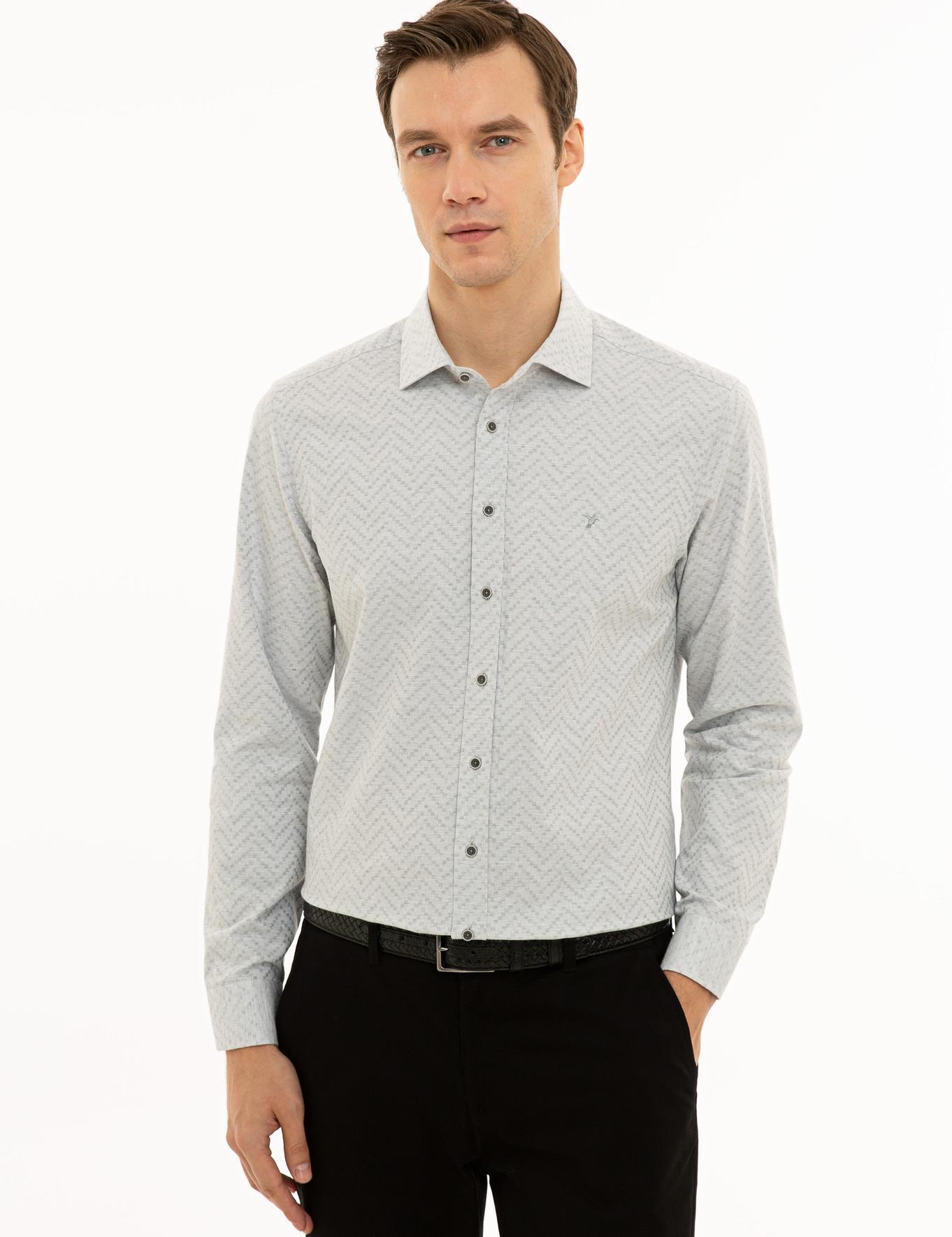 Açık Gri Slim Fit Gömlek - 50228163005