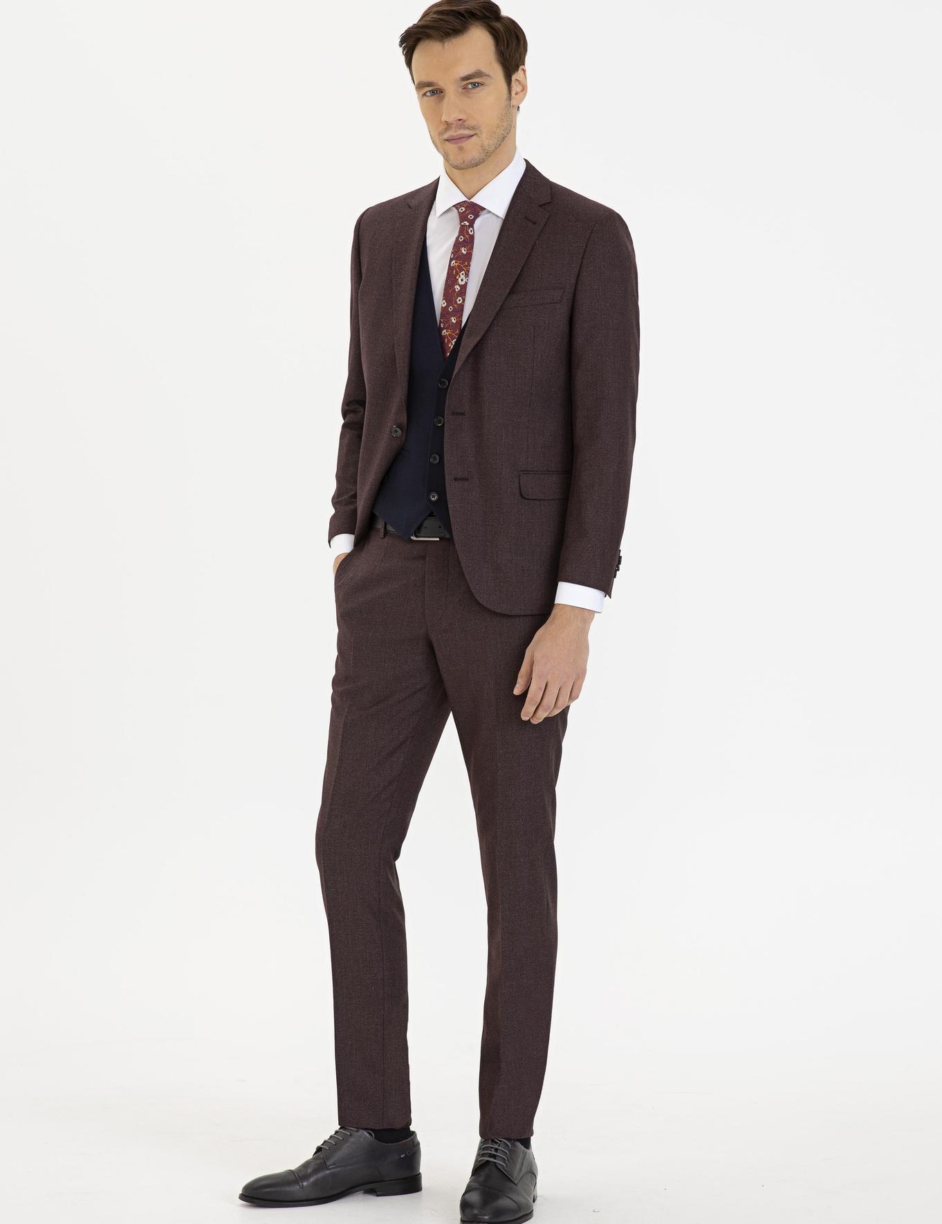 Bordo Ex. Slim Fit Takım Elbise - 50224576008