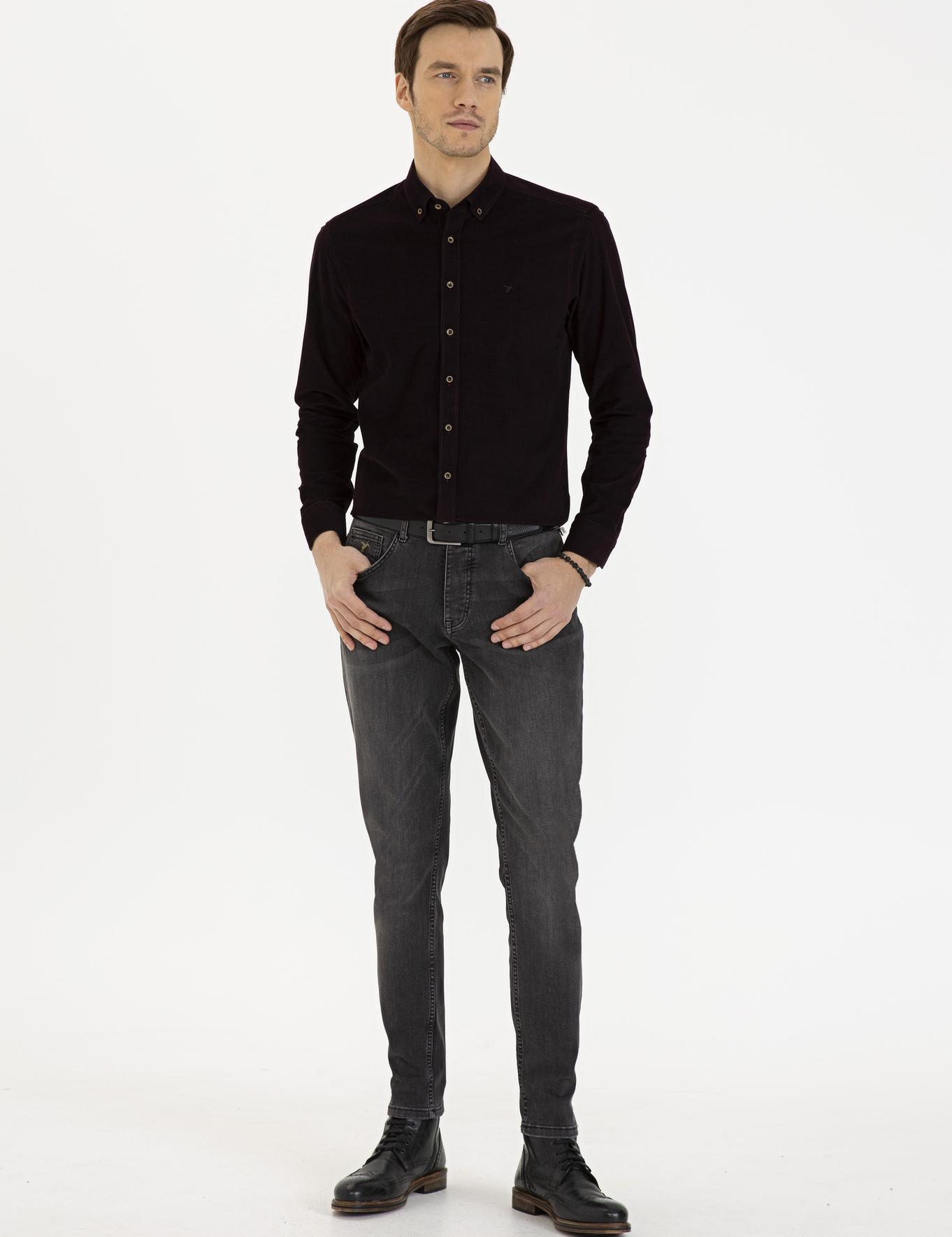 Kahverengi Slim Fit Gömlek - 50227351008