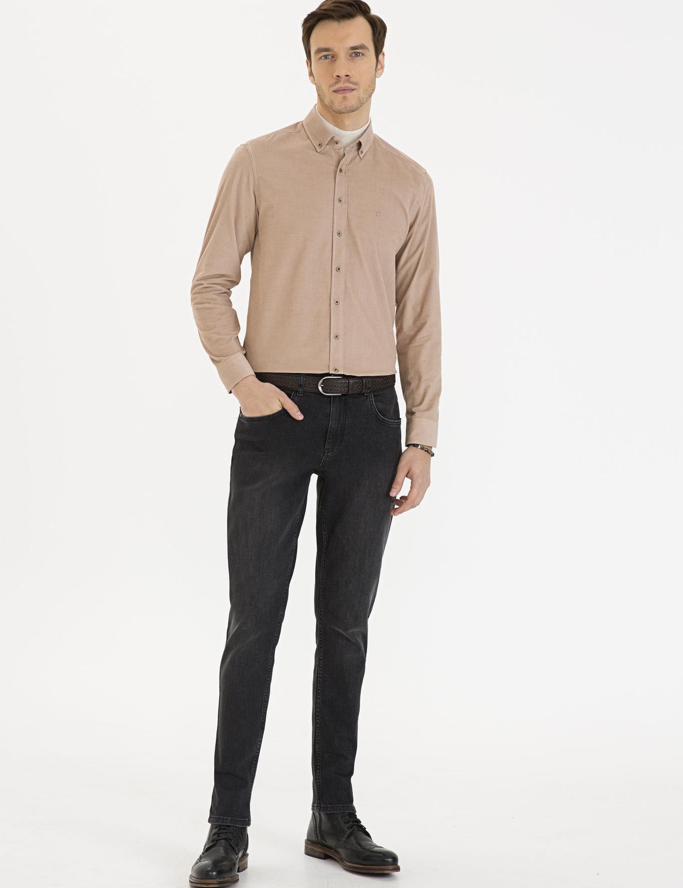 Bej Slim Fit Gömlek - 50227351063