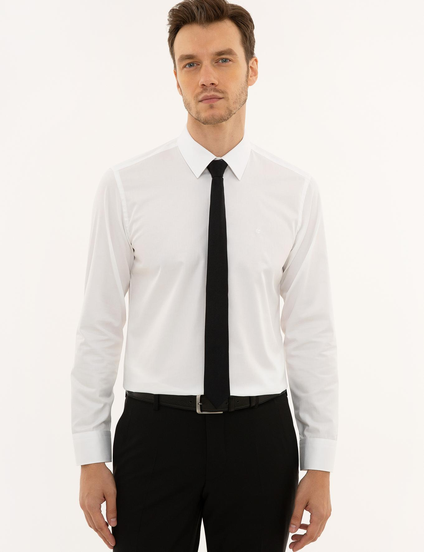 Beyaz Slim Fit Basic Gömlek - 50223224015