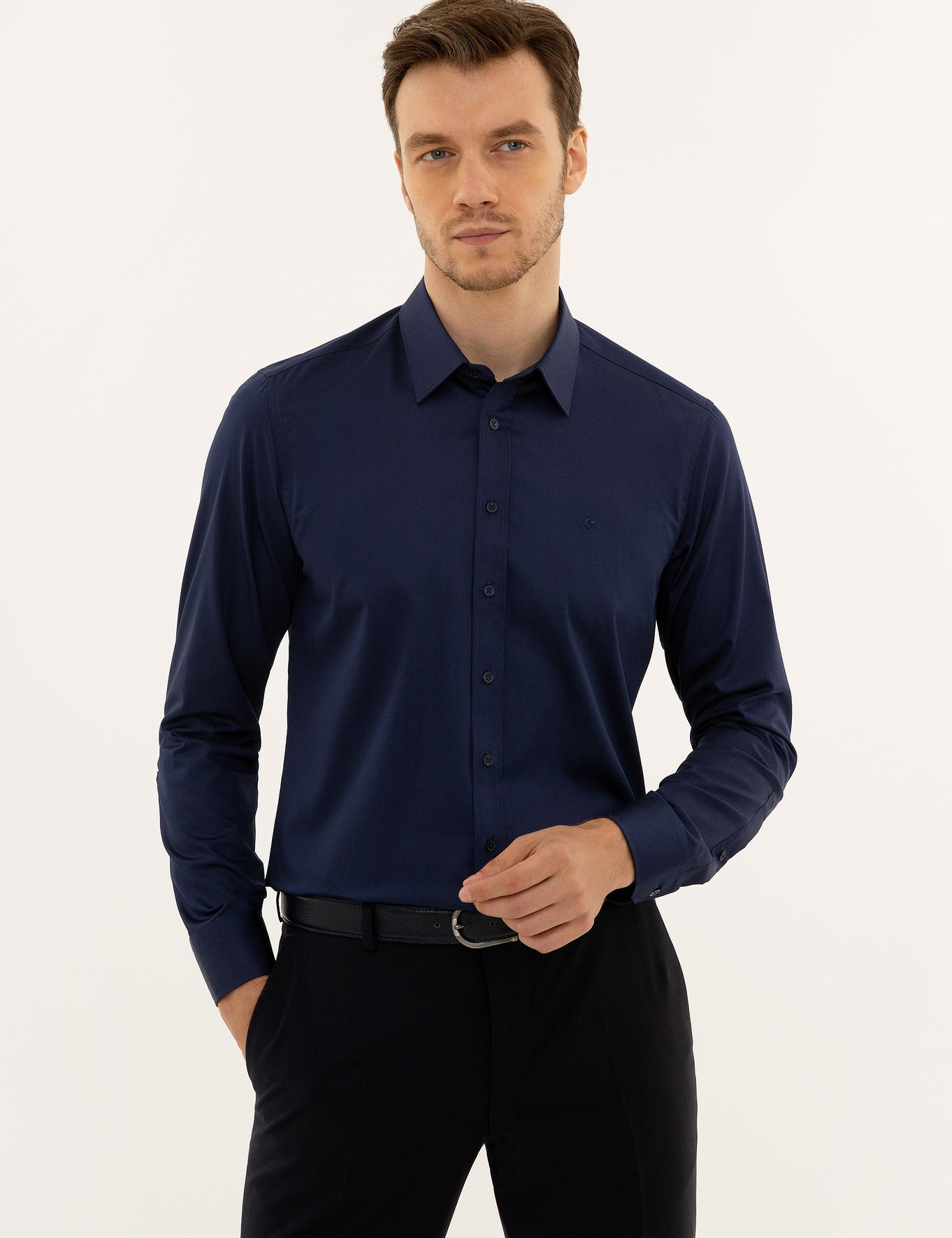 Lacivert Slim Fit Basic Gömlek - 50223224068
