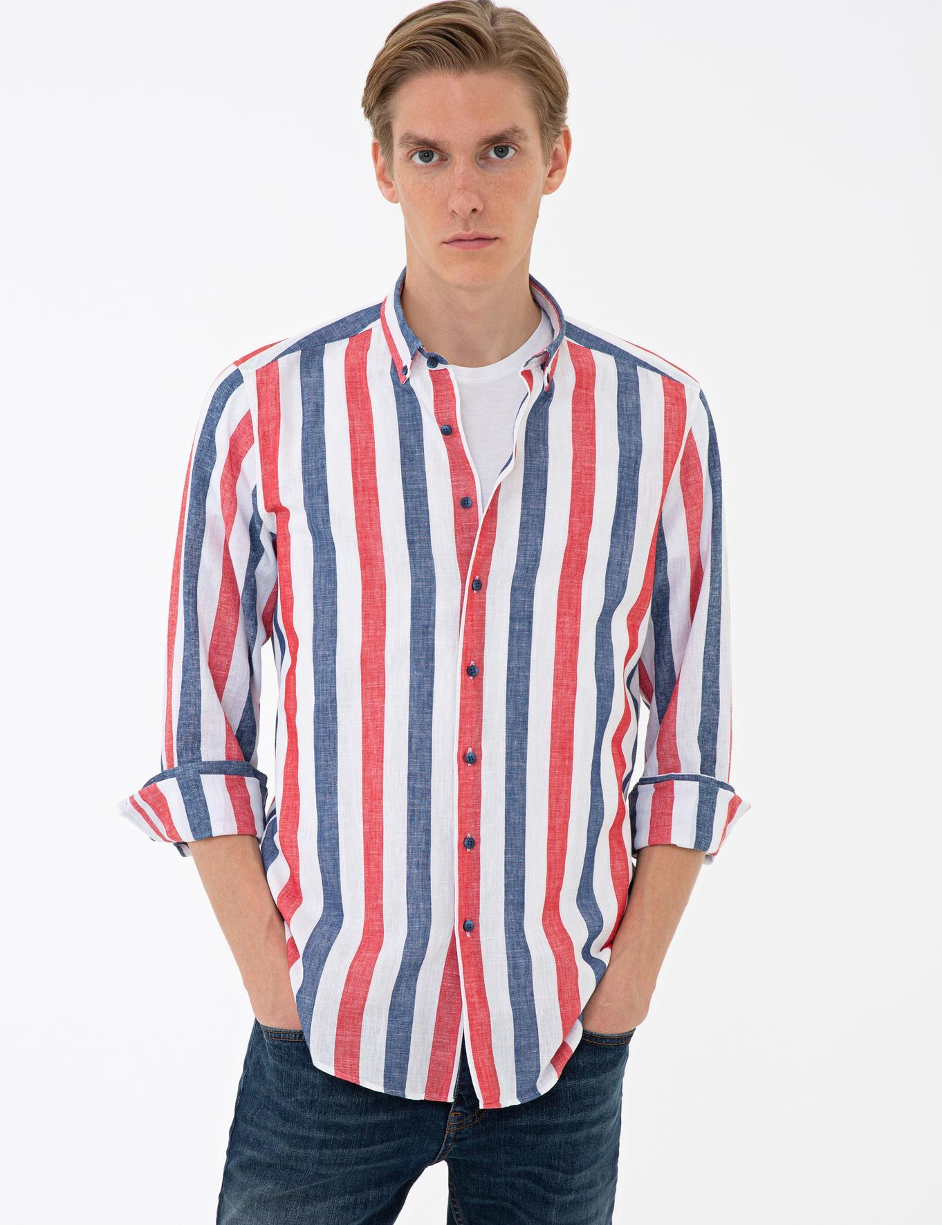Kırmızı Slim Fit Gömlek - 50233198006