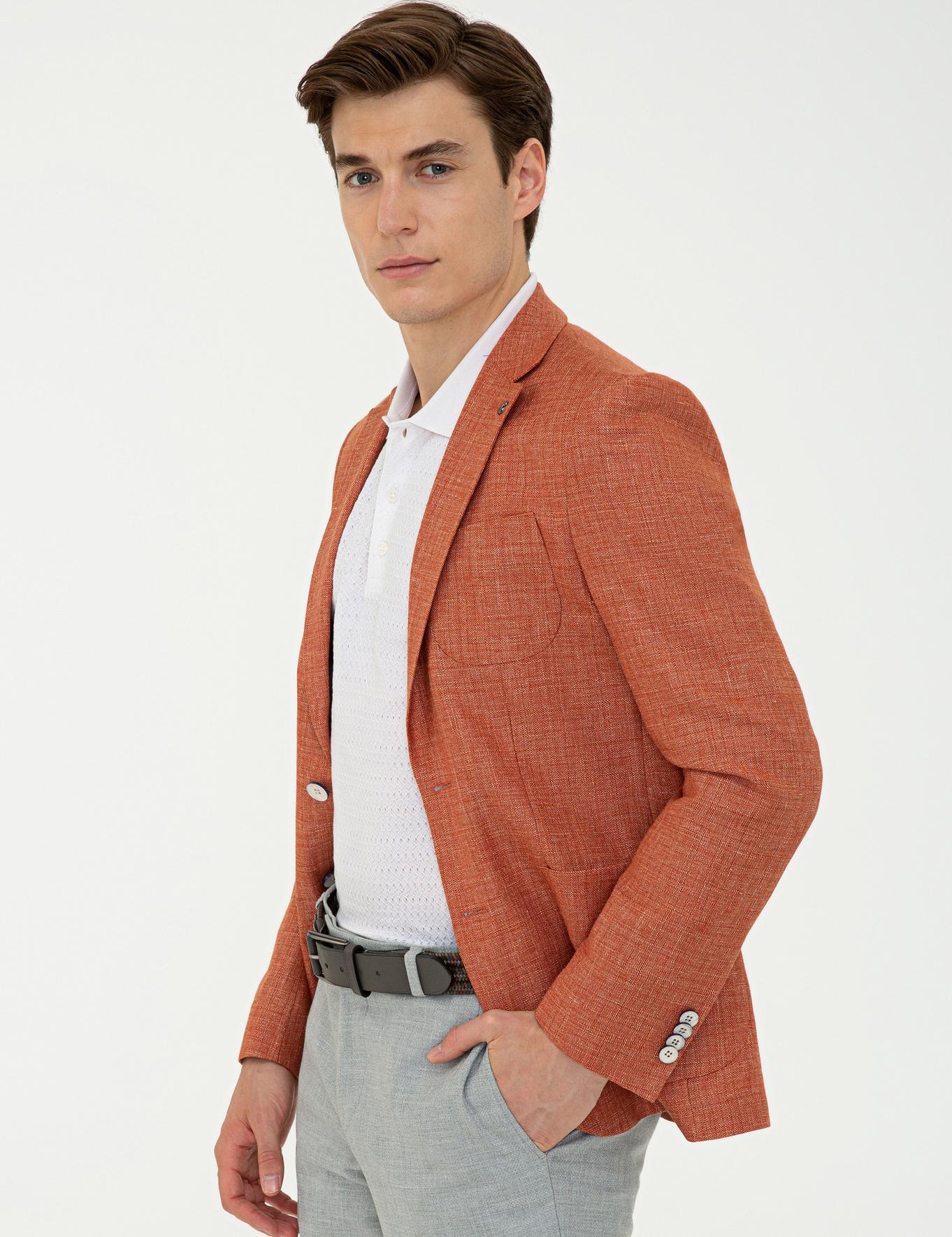 Turuncu Slim Fit Ceket - 50233107077