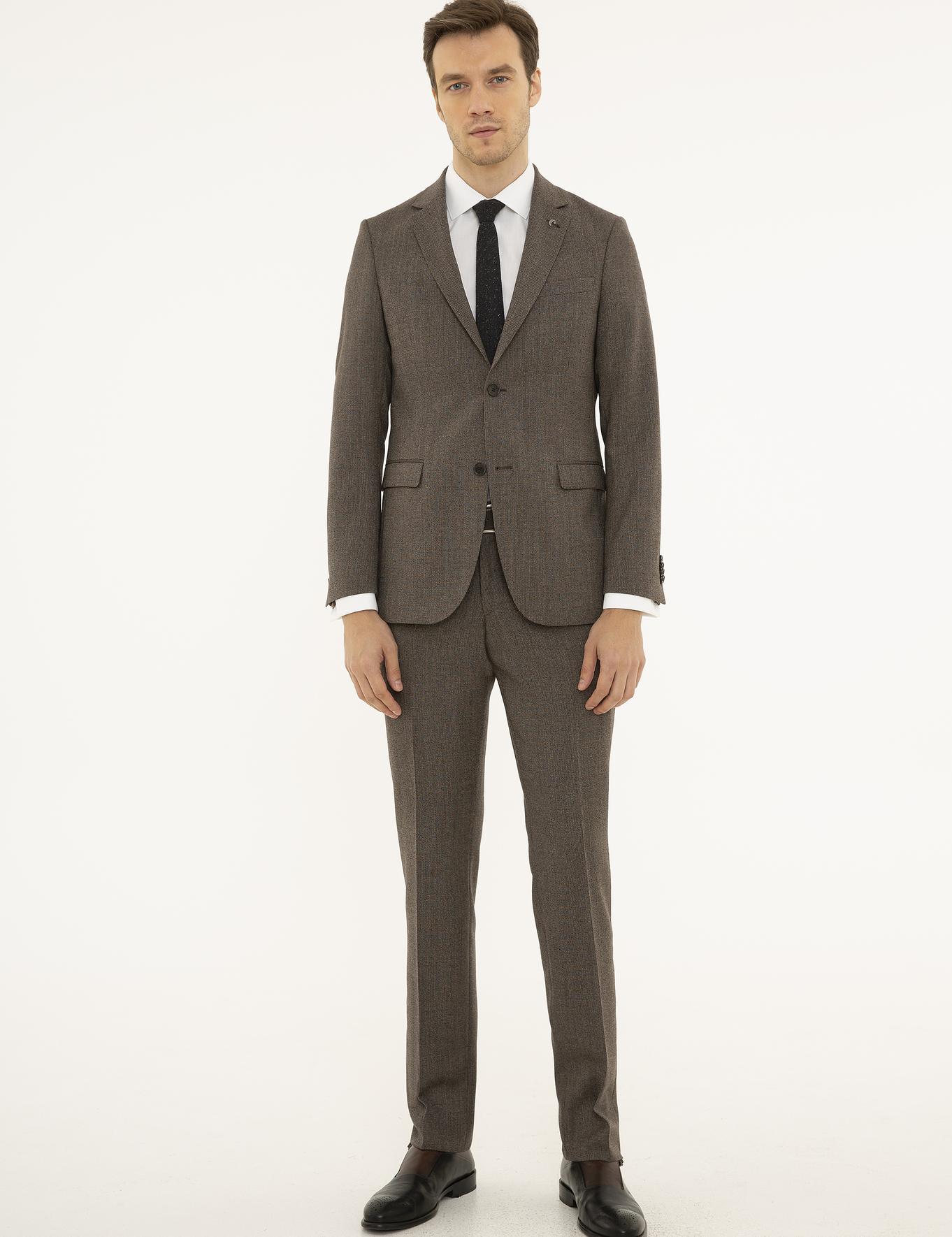 Kahverengi Slim Fit Takım Elbise - 50229845011